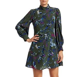 NEW Tanya Taylor Clarisse Rusched Mock-neck Dress